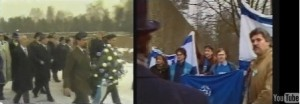Ari Lipinski welcoming Israel MP Shimon Peres at gate of KZ memorial Bergen Belsen 1986