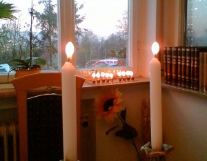 Hanukkah candles and Shabbath candles