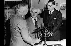 US President Harry S. Truman with Israels David Ben Gurion and ambassador Aba Eban